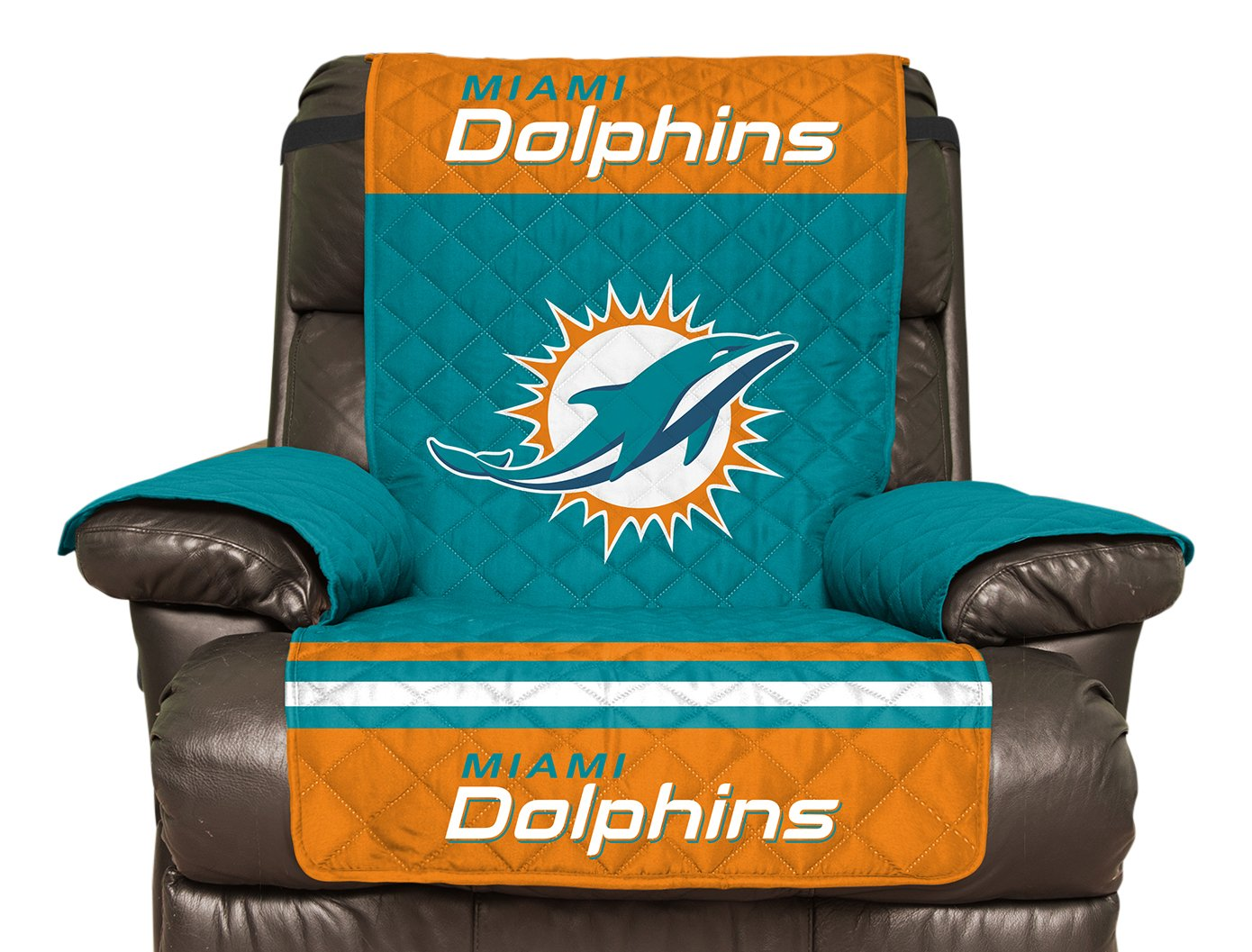 NFL Miami Dolphins Recliner Reversible Furniture Protector with Elastic Straps, 80-inches by 65-inches Pegasus - Sports NFLDOLPHINS-4R