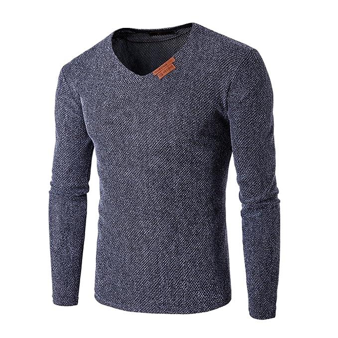 64d4308e501 Uniqstore Camiseta de Manga Larga para Hombre Camiseta de algodón Superior  para el Cabello Llanura con Cuello en V Casual: Amazon.es: Ropa y accesorios