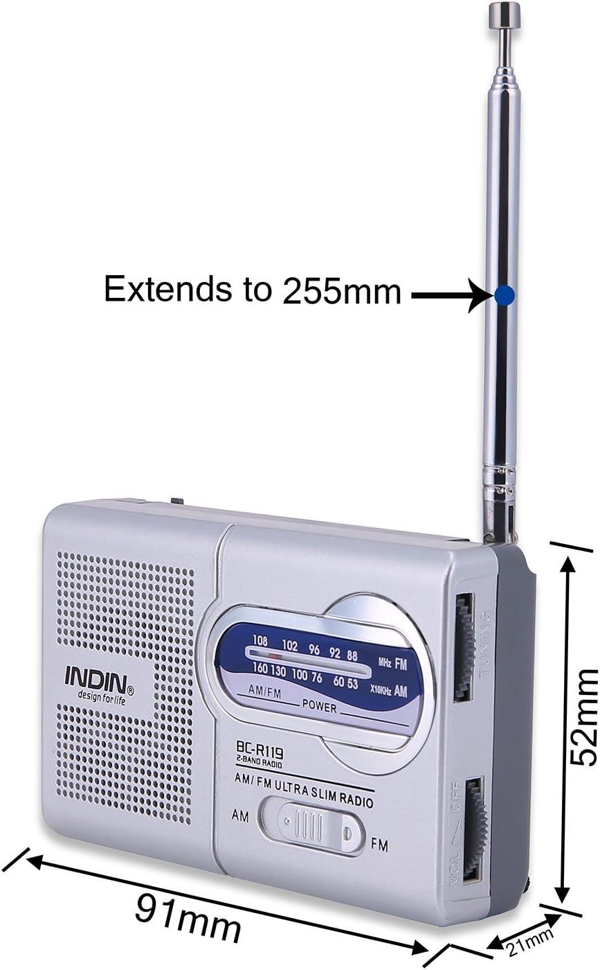 Gamogo BC-R119 Mini Receptor de Radio Am//FM de Doble Banda Reproductor port/átil Altavoz Incorporado con un Conector para Auriculares est/ándar de 3,5 mm Gris Plateado