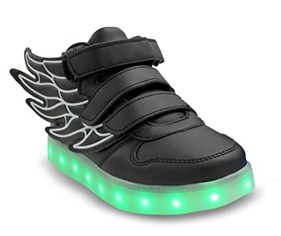 104438cff16c Galaxy LED Shoes Light Up USB Charging High Top Wings Kids Sneakers (Black)  4