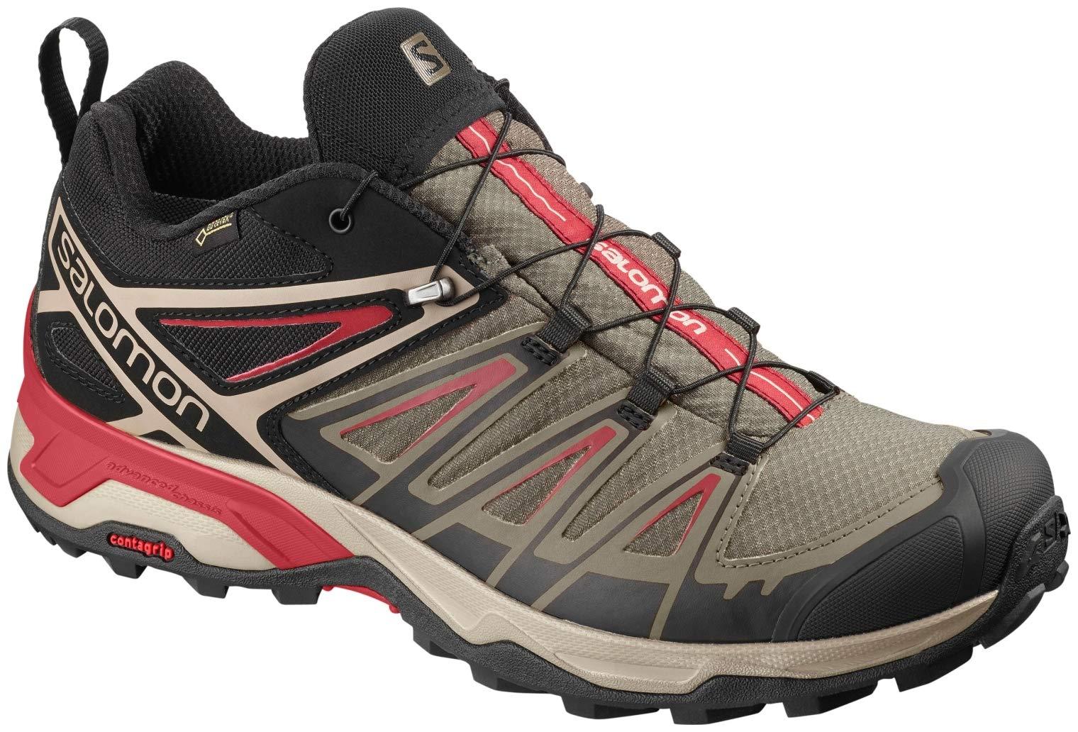 Salomon X Ultra 3 GTX Hiking Boots - Mens, Bungee Cord/Vintage Kaki/Red Dahlia, L40674900-11