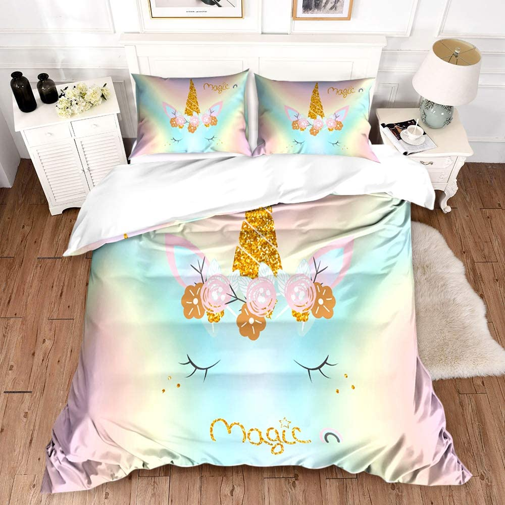 Lovely Cartoon Bedding Set Unicorn Duvet Cover Full Queen Girls Comforter Cover Printed Soft Microfiber 1 Piece Duvet Cover with Zipper 2 Pieces Pillow Shames NO Comforter,Purple Queen