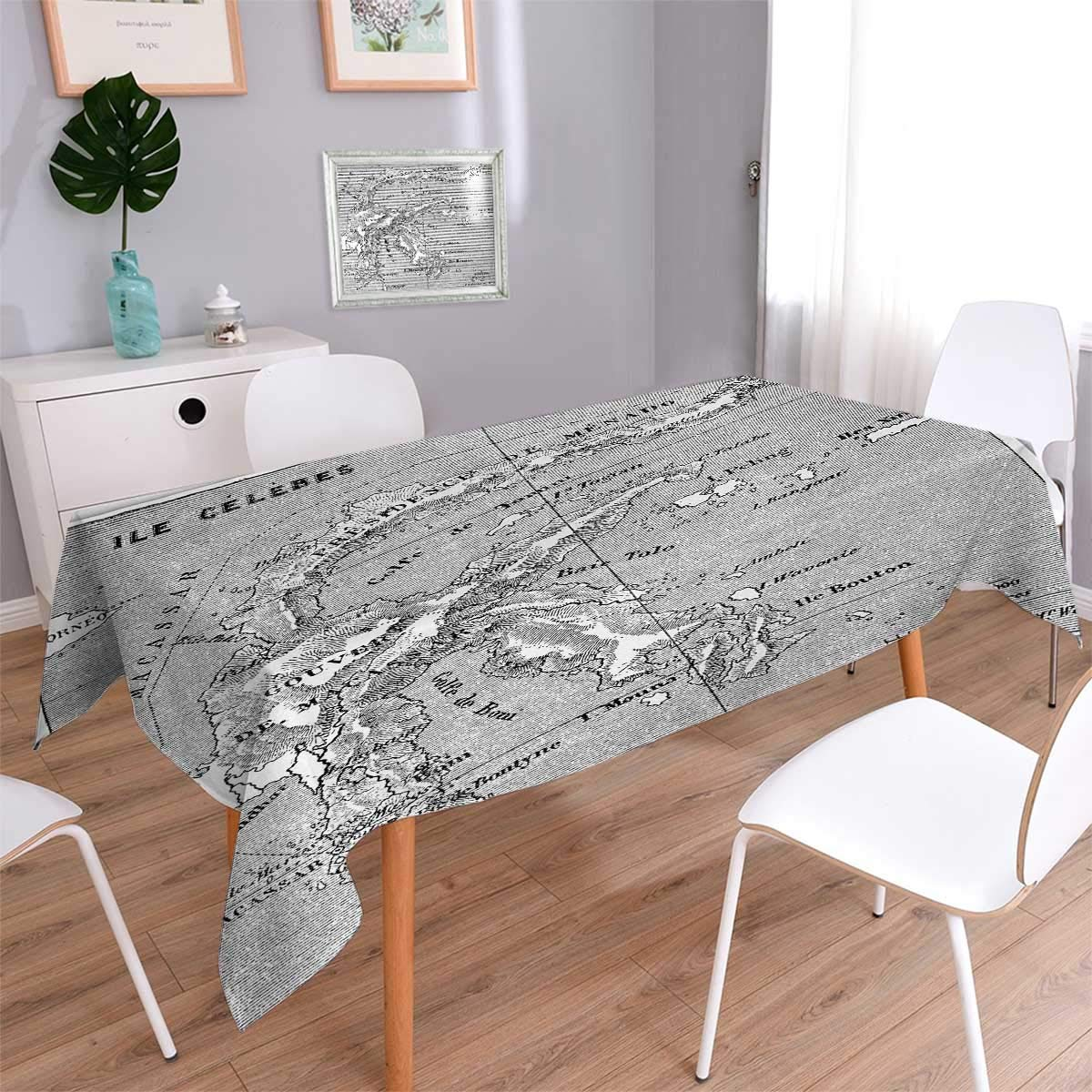 Anmaseven Island Map Oblong Customized Tablecloth Vintage Style French Map Chart of Sulawesi Island Mediterranean Destination Stain Resistant Wrinkle Tablecloth Black and White Size: W54 x L72