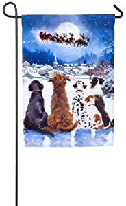 Evergreen Christmas Dogs Satin Garden Flag, 12.5 x 18 inches
