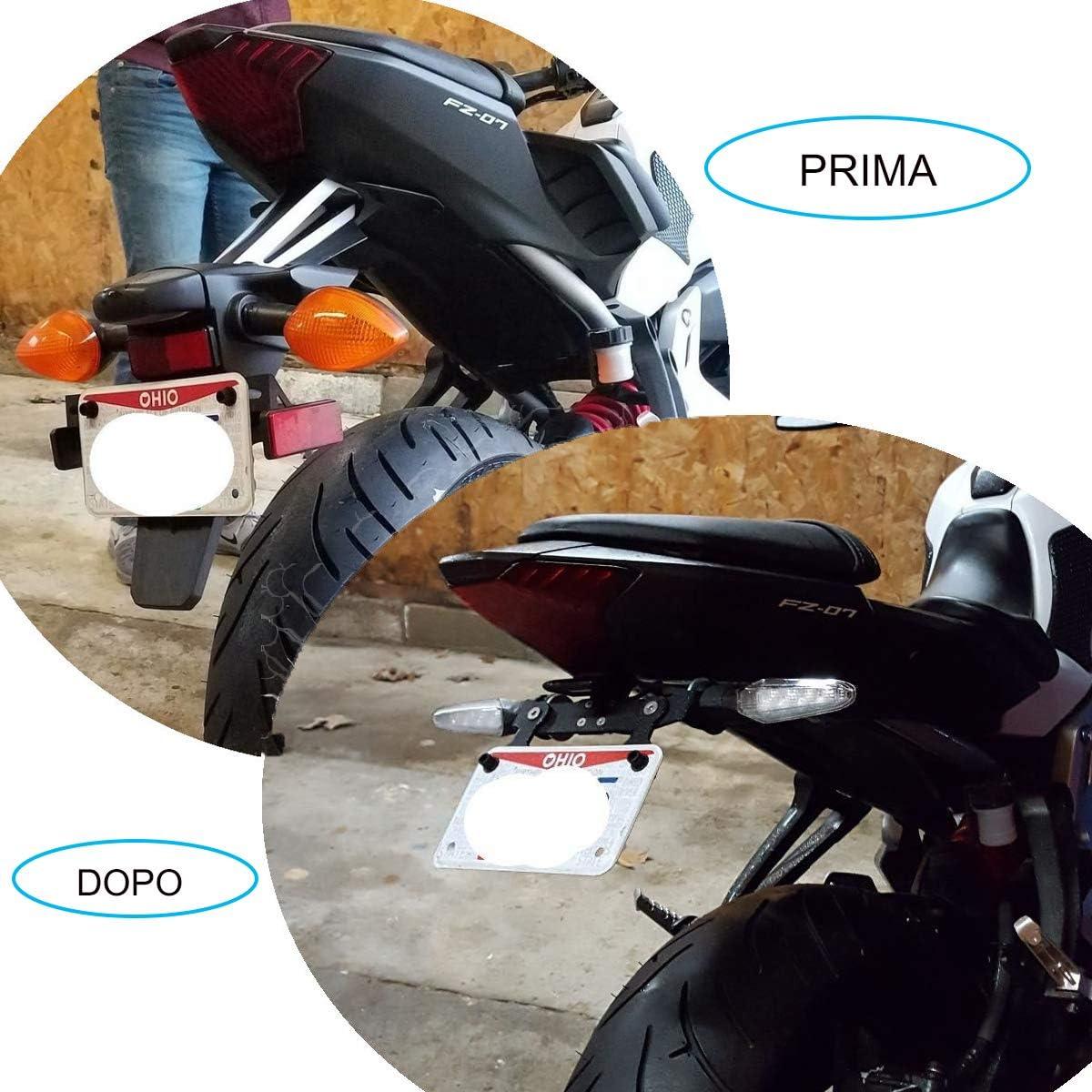 moto sportive MT-03 Z750 R1 Support universel r/églable pour plaque dimmatriculation pour streetbike moto de route Universale