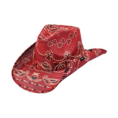 Amazon.com  NEW PETER GRIMM RED BLACK ENOS PAISLEY POCKET LINED DRIFTER COWBOY  HAT  Clothing 6d0403a2160