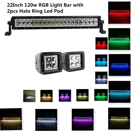 Straight 22 inch 120w led light bar rgb halo ring color changing led straight 22 inch 120w led light bar rgb halo ring color changing led light bar with mozeypictures Image collections