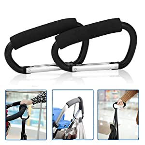 "2pcs X-Large Carabiner Stroller Hooks Durable Stroller Hanger Organizer for Purse Shopping,Grocery and Diaper Bag - 14cm (5.5""),Black"