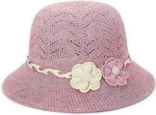 YYXXX Sombrero para Sol,Sombrero De Moda Sombrero De Paja para Mujer, Transpirable, Sombrero De Paja, Flores De Perlas, Aire Libre, Rosa B, Talla Única