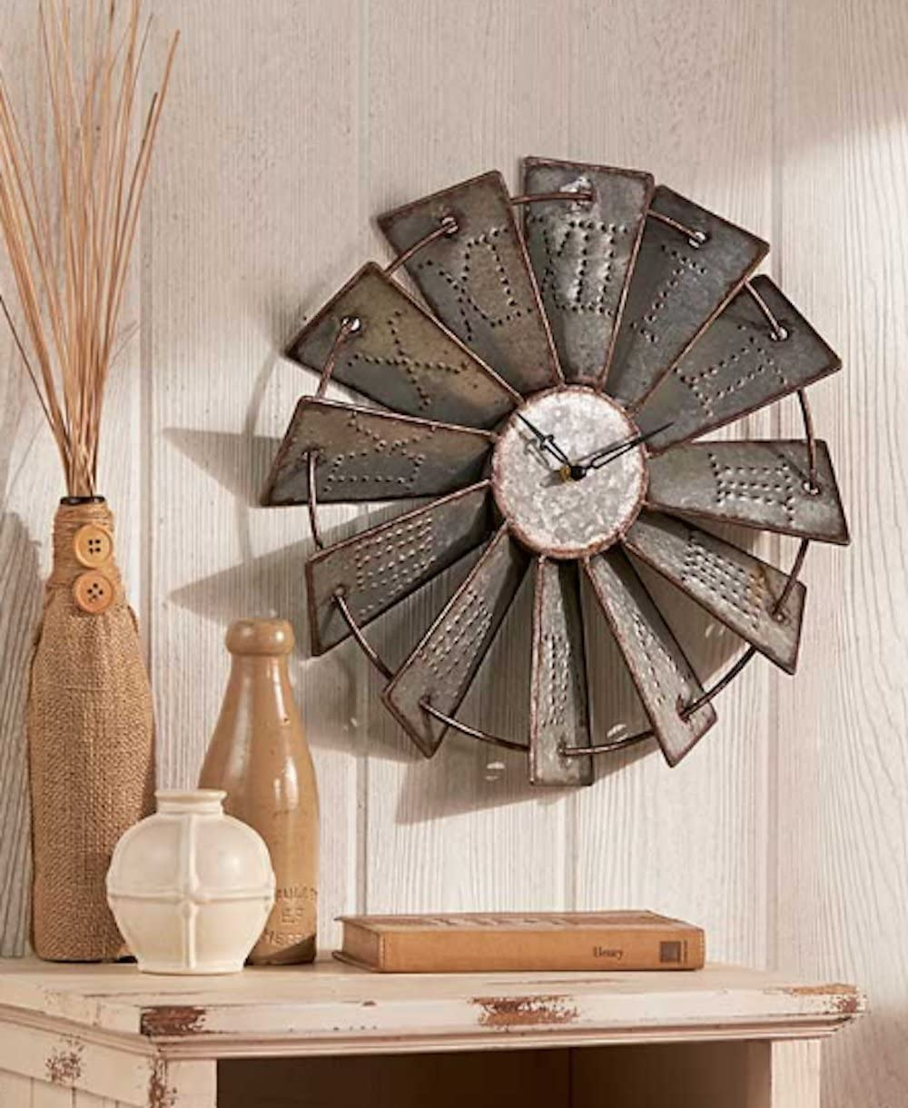 Amazon Com Homecricket Country Decor Metal Windmill Rustic Country Primitive Roman Numerals Wall Clock Home Kitchen