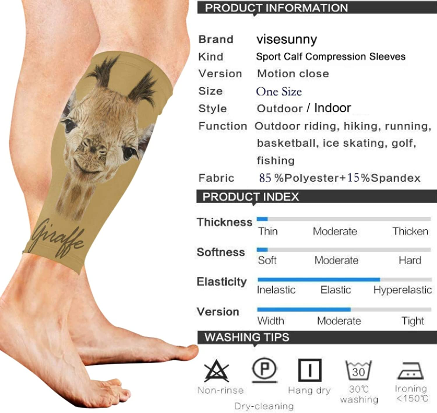 visesunny Attractive Cute Young Giraffe Sports Calf Support Sleeves for Muscle Pain Relief, Improved Circulation Compression – Effective Support for Running, Jogging, Workout (1 Pair)
