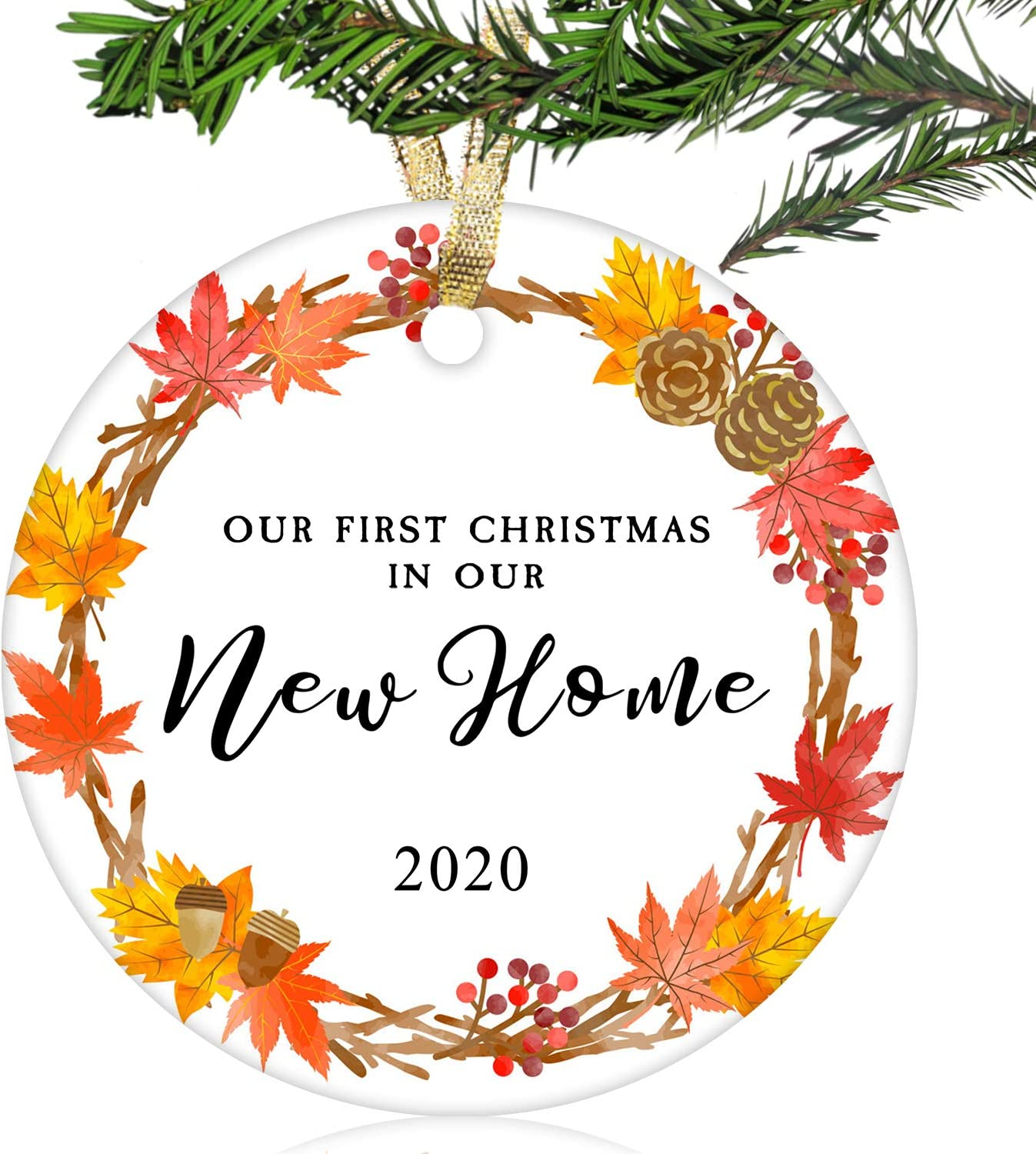 "NURIONSS Our First Christmas in Our New Home Ornaments 2020 - Christmas Wedding Decoration Gift for New Home New Homeowner New Apartment - 2.85"" Ceramic Ornament(New Home 16)"