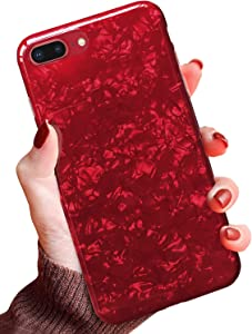 """J.west iPhone 8 Plus Case,iPhone 7 Plus Case, iPhone 7 Plus TPU Case Luxury Sparkle Bling Crystal Clear Soft TPU Silicone Back Cover for Girls Women for Apple 5.5"""" iPhone 8 Plus/7 Plus (Claret)"""