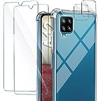 AROYI Funda Compatible con Samsung Galaxy A12, 2 Pack Cristal Templado y 2 Pack Lente de cámara, Carcasa Suave TPU…