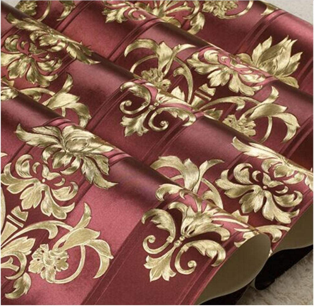ROJO Damasco 3D Damasco dorado de lujo Fondos de flores bonitas Papel de pared con textura europea Sala de estar Dormitorio Rollo de rayas florales