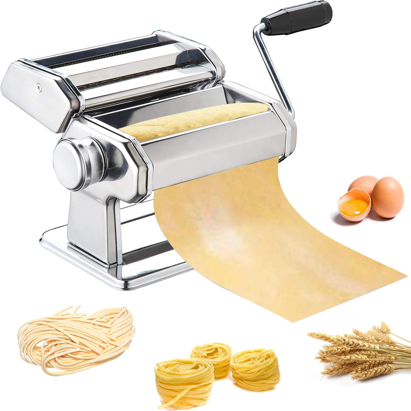 Pasta Maker, METLUCK Stainless Steel Pasta Machine Manual Roller Pasta Maker with 8 Thickness Settings for Spaghetti Linguine Fettuccine Lasagne, Includes Dough Cutter & Hand Crank