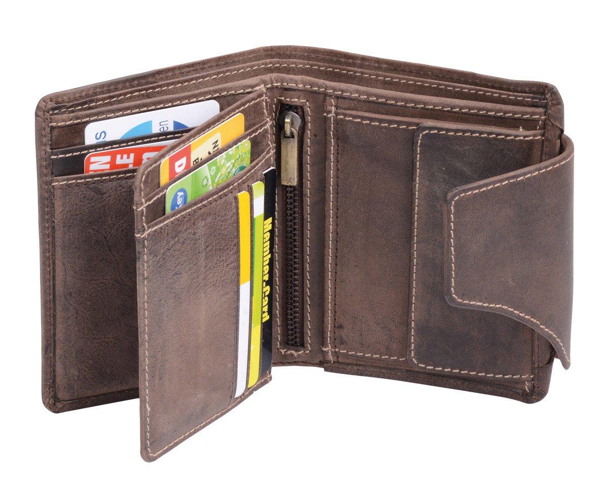 b1a0741f26b6c4 LEAS Herren und Damen Geldbörse mit Verschluss Geschenkbox Echt-Leder,  braun Vintage-Collection: Amazon.de: Koffer, Rucksäcke & Taschen