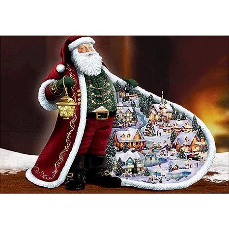 TONVER 5D Kit de pintura de diamantes, mosaico diamante dibujo Santa Claus paisaje artes manualidades