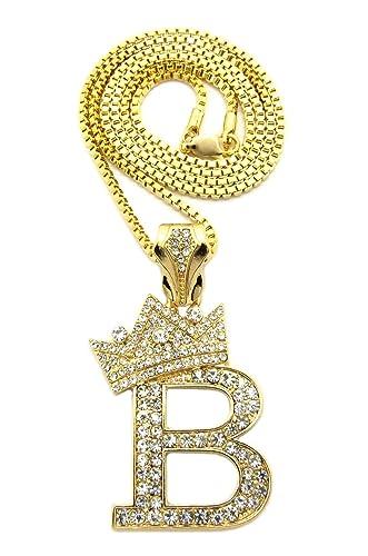 Gold tone king crown b pendant 24 various chain necklace 3 kinds gold tone king crown b pendant 24quot various chain necklace 3 kinds of chain mozeypictures Choice Image