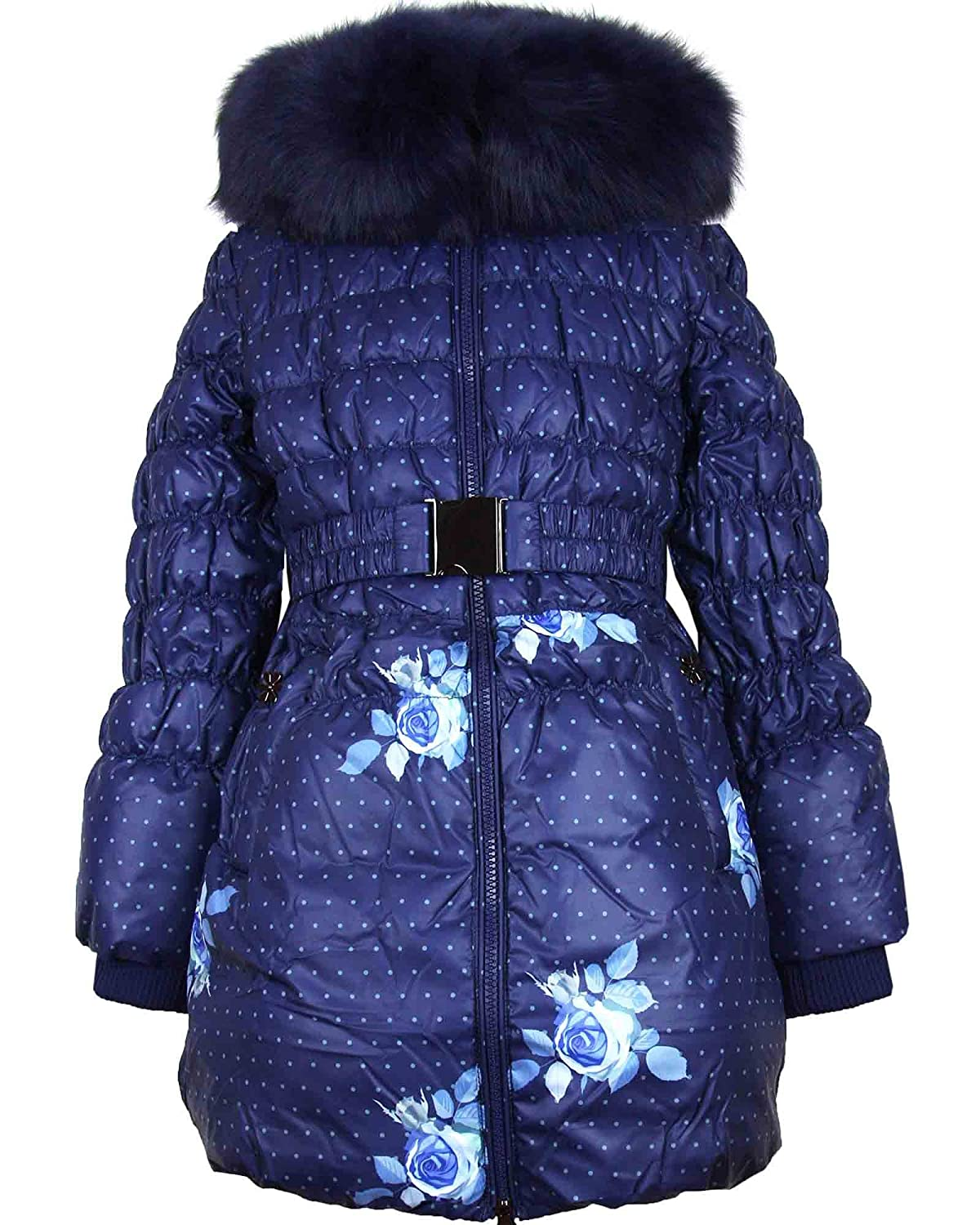 Sizes 6-16 Lisa-Rella Girls Quilted Down Coat with Real Fur Trim Roses Print