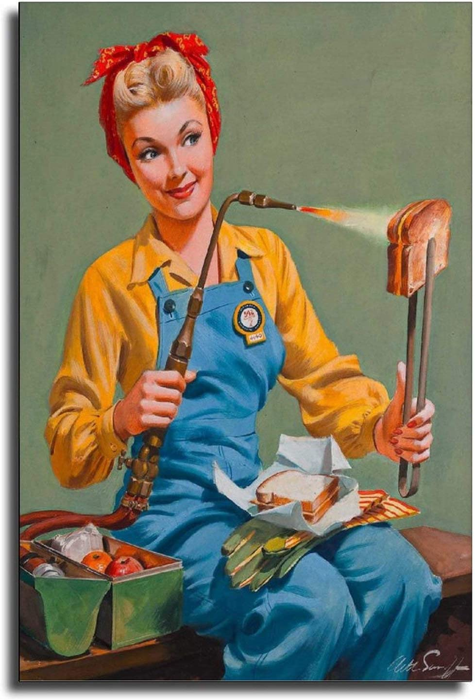 great 1940s Pin-Up Girl Rosie The Riveter Welding Lunch Picture Poster Canvas Art Poster and Wall Art Picture Print Modern Family Bedroom Decor Posters 12×18inch(30×45cm)