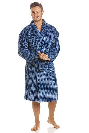 Robe de Chambre pour Homme Polaire Ultra Douce col châlemotif Zigzag Bleu  Marine  Camille  Amazon.fr  Vêtements et accessoires de6f270265b4