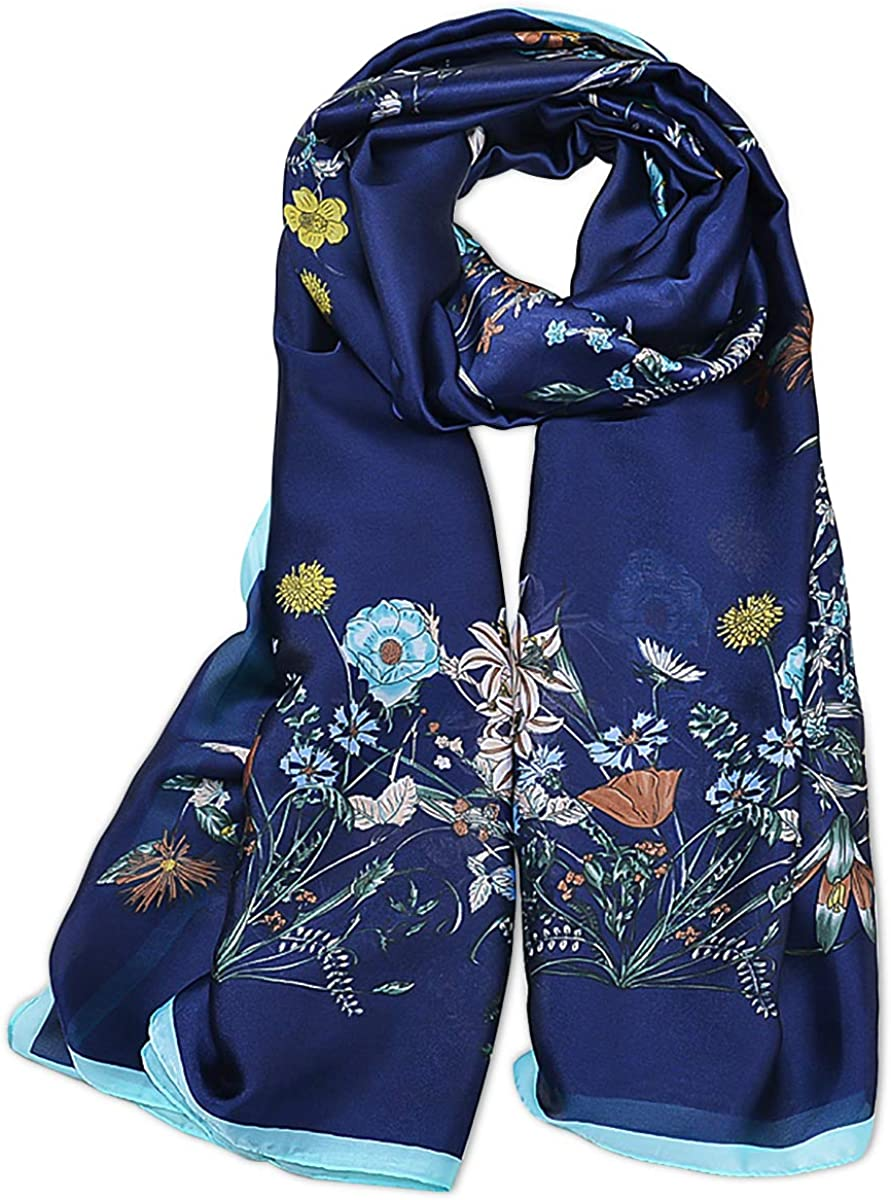 LumiSyne Silk Scarves For Women Vintage Print Colored Stripes Floral Pattern Chic Style Long Shawl Warm Wrap Sunscreen Shawl All Season