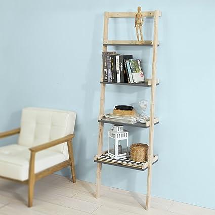 SoBuy® Moderna estantería escalonada, librería, estantería de Pared, Estante de 4 Plegable Niveles, FRG186-N,ES