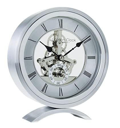 Clocks Home & Garden London Clock Co 16 Cm Silver Simple Frame Skeleton Mantel Clock