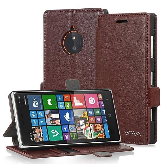 uk availability fa658 9f735 Amazon.com: Vena Nokia Lumia 830 Case [vFolio] Slim Leather Wallet ...