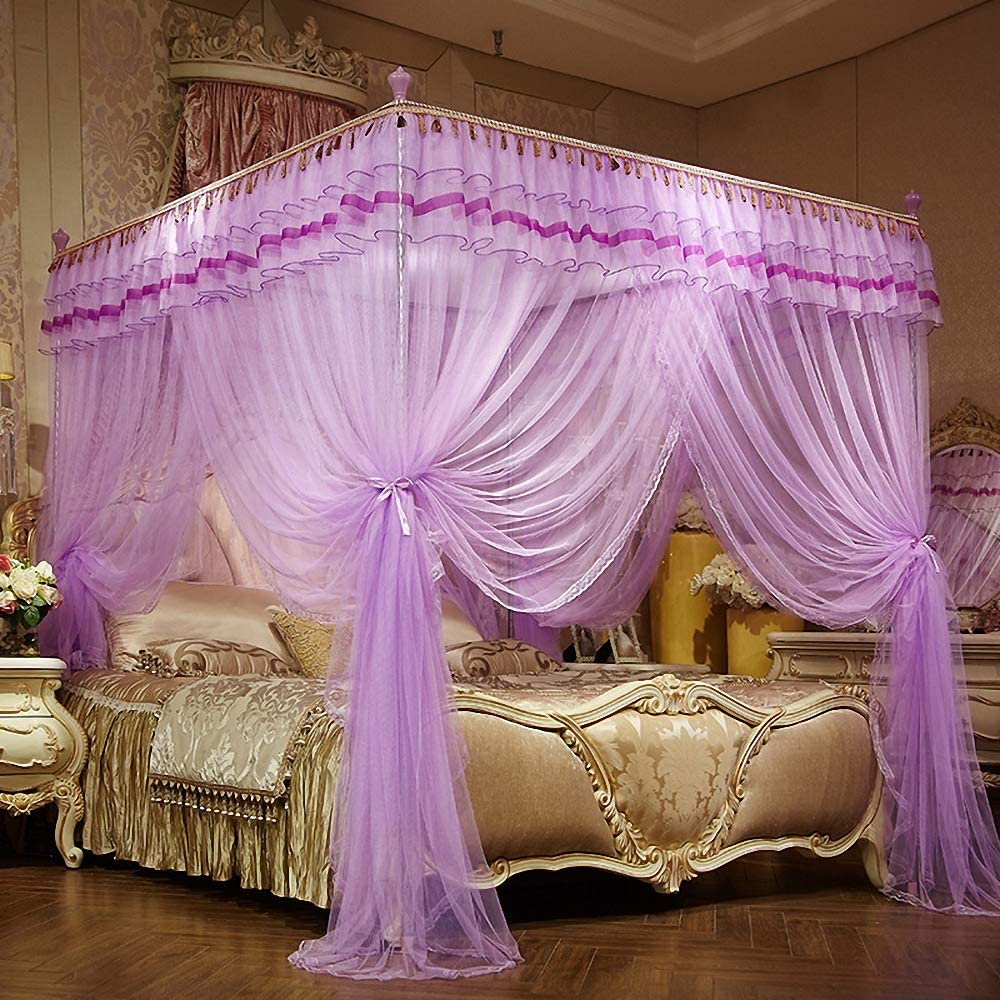 Queen, White Bed Canopy for Girls Kids Toddlers Crib Adult Bedding D/écor JQWUPUP Luxury Bed Curtains Canopy Ruffle Tassel 4 Corner Post Mosquito Net