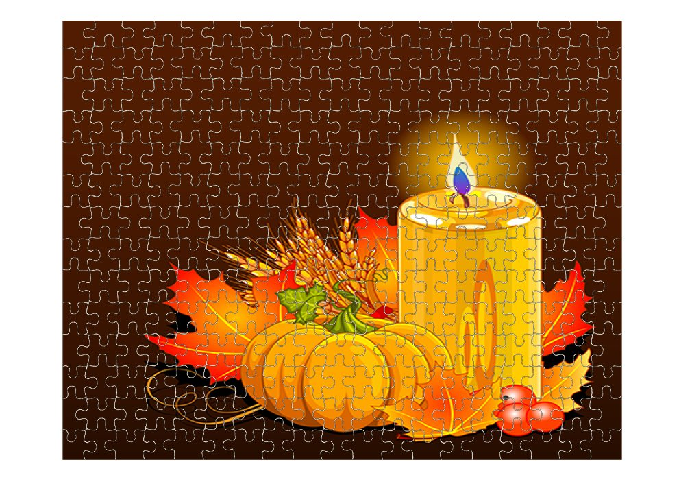 Thanksgiving Day Pumpkin Candle Jigsaw Puzzle Print 252 Pieces