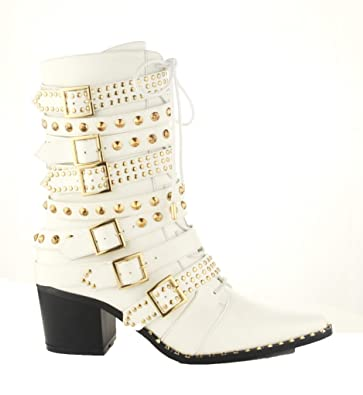 928ea3afb9e Michelle Parker Cape Robbin Rockstud White Gold Western Pointy Toe  Embelished Moto Leather Boot (6