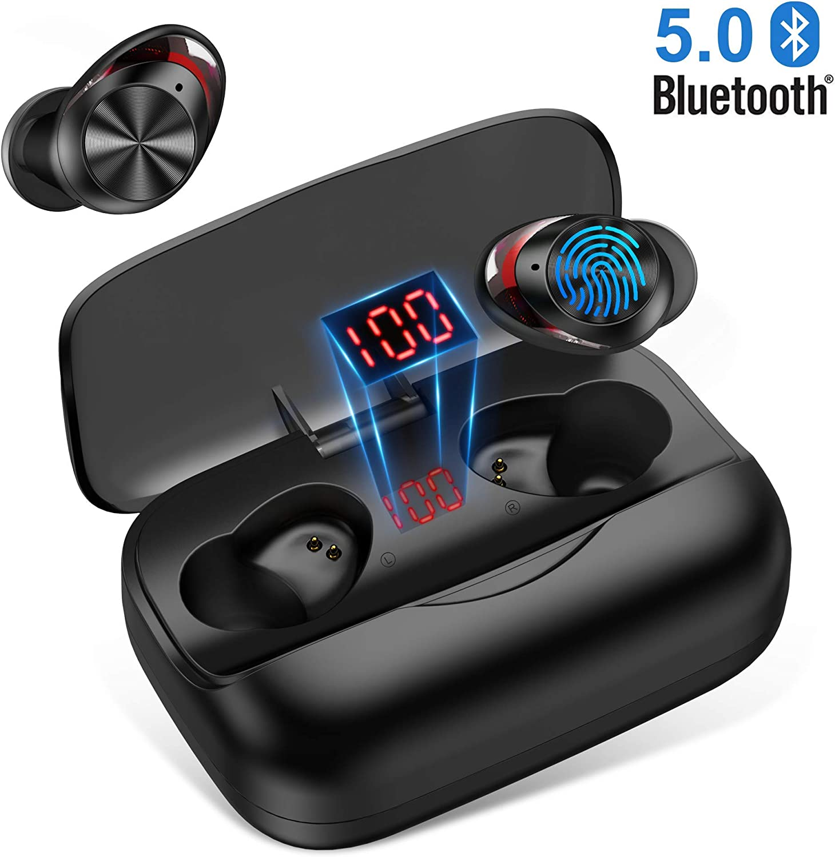 orit Auriculares Bluetooth 5.0, Auriculares inalámbricos In-Ear Mini Twins HiFi Sonido Estéreo 126H reproducción Cascos inalámbricos Bluetooth con 3000mAh Caja de Carga para Andriod, iPhone, Tablet