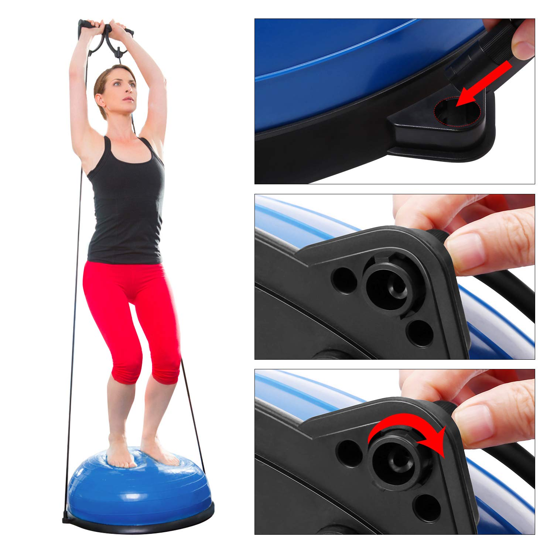 /… 58cm PVC Fitness Ger/ät f/ür Kraft Balance Aerobic und Ausdauer Training geeingnet f/ür jedes Alter Balance Ball Balance Trainer mit Zugb/ändern KUOKEL