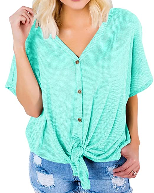 028cefe95b2174 Dellytop Button Down V Neck Shirts Loose Fitting Short Sleeve Henley Shirts  Front Tie Tops