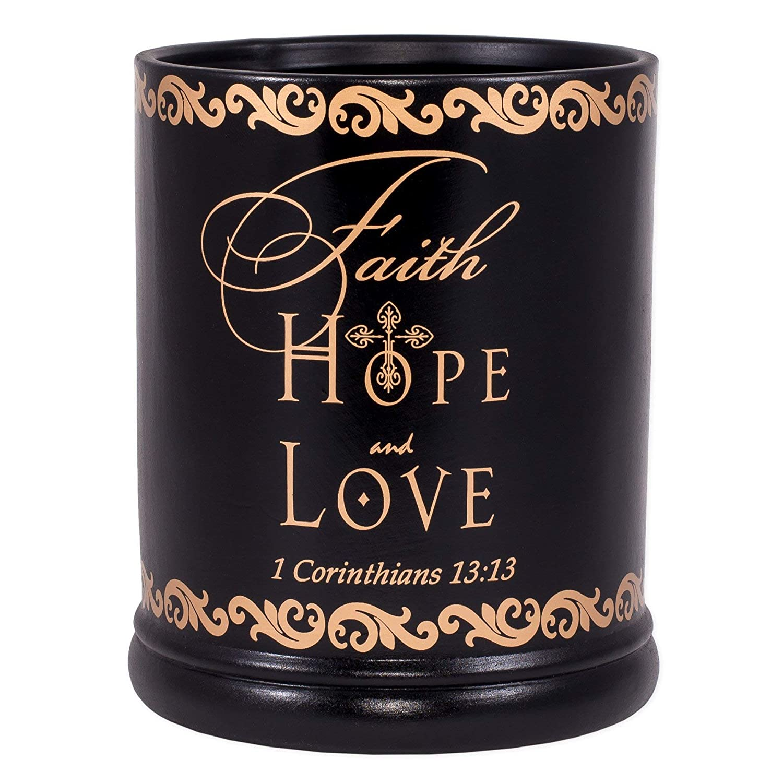Elanze Designs Faith Hope Love Ceramic Stoneware Electric Large Jar Candle Warmer