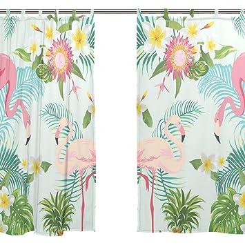 Jstel 2 Pcs Voile De Rideau De Fenetre Tropical Floral Flamants