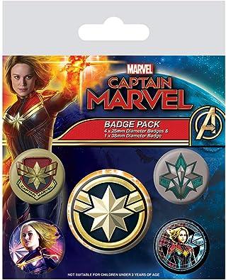 Marvel - Pack de Insignias Captain Marvel, Multicolor: Amazon.es ...