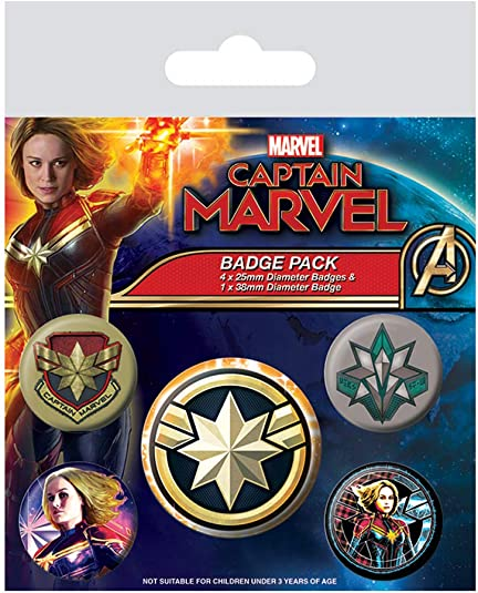 Marvel - Pack de Insignias Captain Marvel, Multicolor: Amazon.es: Joyería