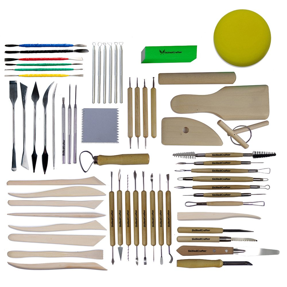 Skilled Crafter Ceramic Supplies. Over 100 Tool Shapes in a Premium 59 Piece Clay Modeling Kit + FREE Sponge. The Best Sculpting Detailing & Throwing Set for Art Class, Studio, School and Craft Lovers