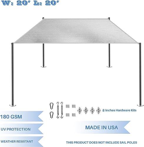 E K Sunrise 20 x 20 Light Gray Rectangle Sun Shade Sail with Stainless Steel Hardware Kit Outdoor Shade Cloth UV Block Fabric,Straight Edge-Customized