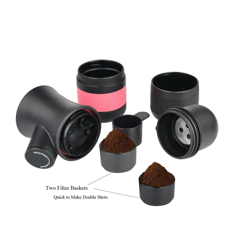 Máquina portátil de espresso por Litchi cafetera de viaje manual 3 oz con cesta de filtro adicional, bolsa de lino