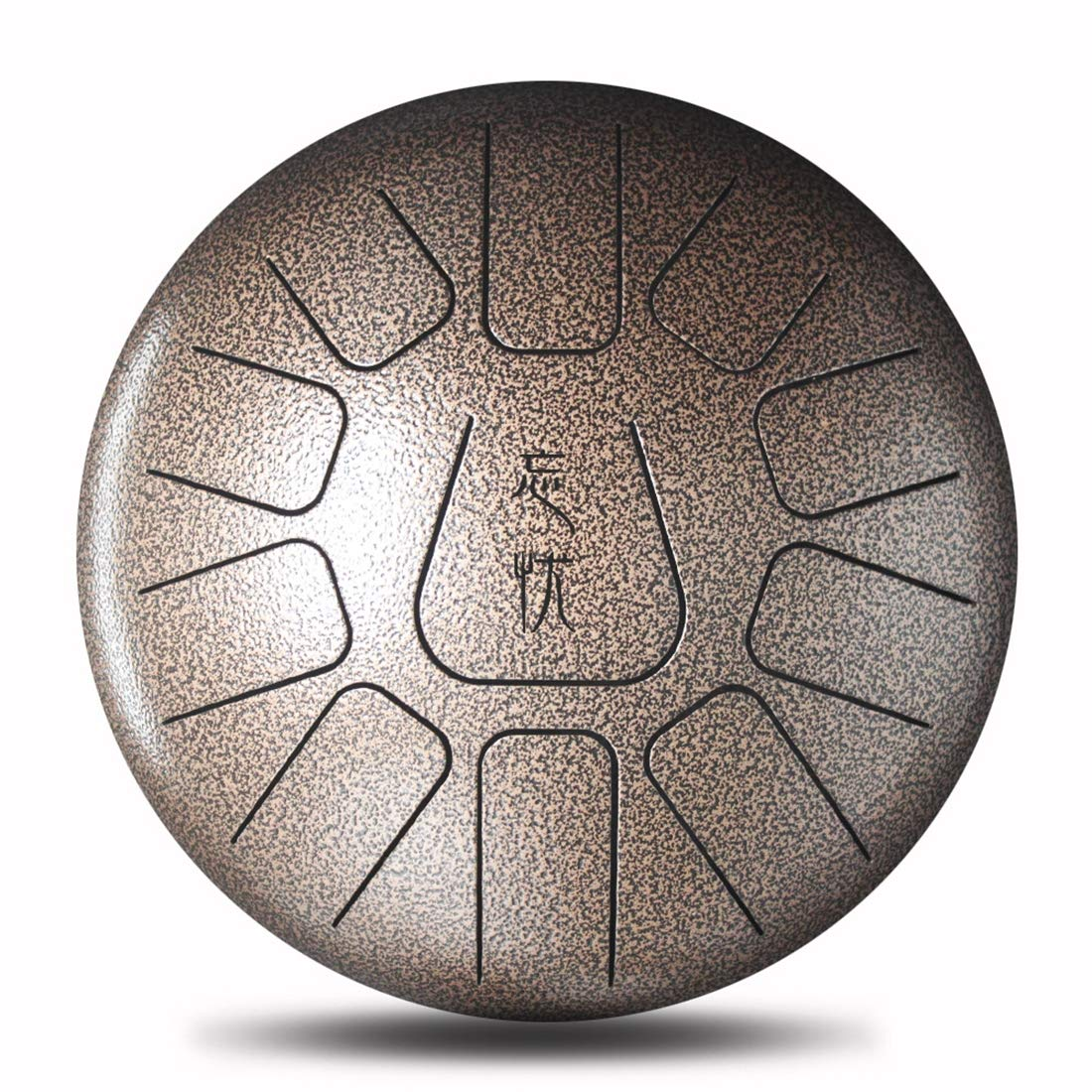 LLC-CLAYMORE 12'' 11 Notes Chakra Drum, Professional Harmonic Steel Slit Tongue Handpan Drum for Sound Healing, Meditation, or Yoga, Includes Rubber Mallets & Bag,Brown