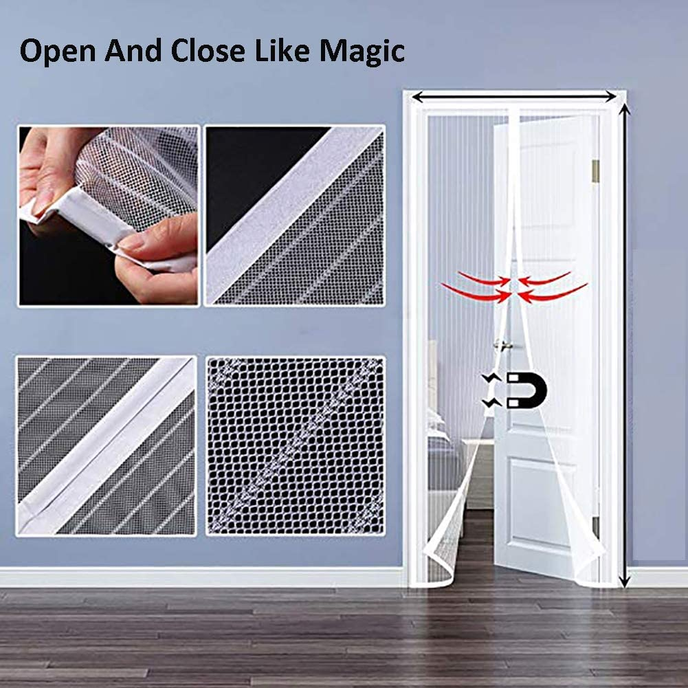 ZFMG Screen Door Magnets Pet and Kid Entry Friendly Durable Fiberglass Door Mesh with Full Frame for Front Door 37x102inch Fit Doors Size Up to 94 W X 106 H Max,White,95x260cm