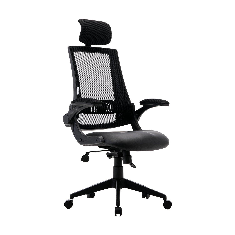 KADIRYA High Back Ergonomic Mesh Office Chair with Leather Seat,Flip-up Armrests,90°- 110° Tilt Lock,Adjustable Back Lumbar Support Computer Desk Task Executive Chair,Black (BIFMA Certified)