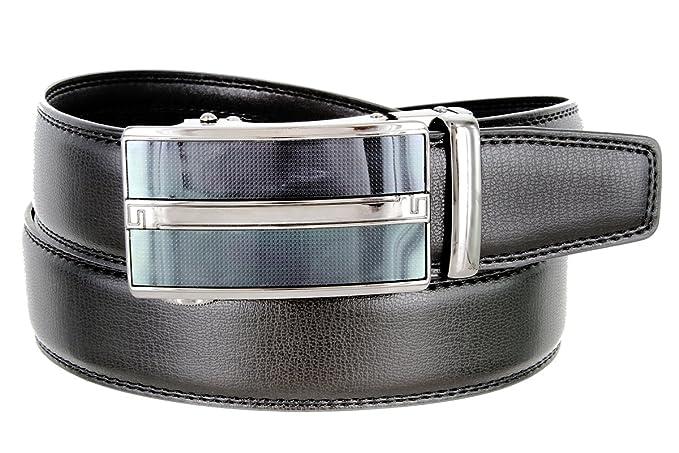 1cbe439df Men's Vintage Gunmetal Sliding Buckle Genuine Leather Ratchet Belt (35mm) -  Black