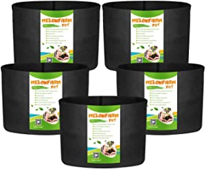 MELONFARM 5-Pack 20 Gallon Grow Bags Heavy Duty Thickened Non-Woven Plant Fabric Pots with Handles