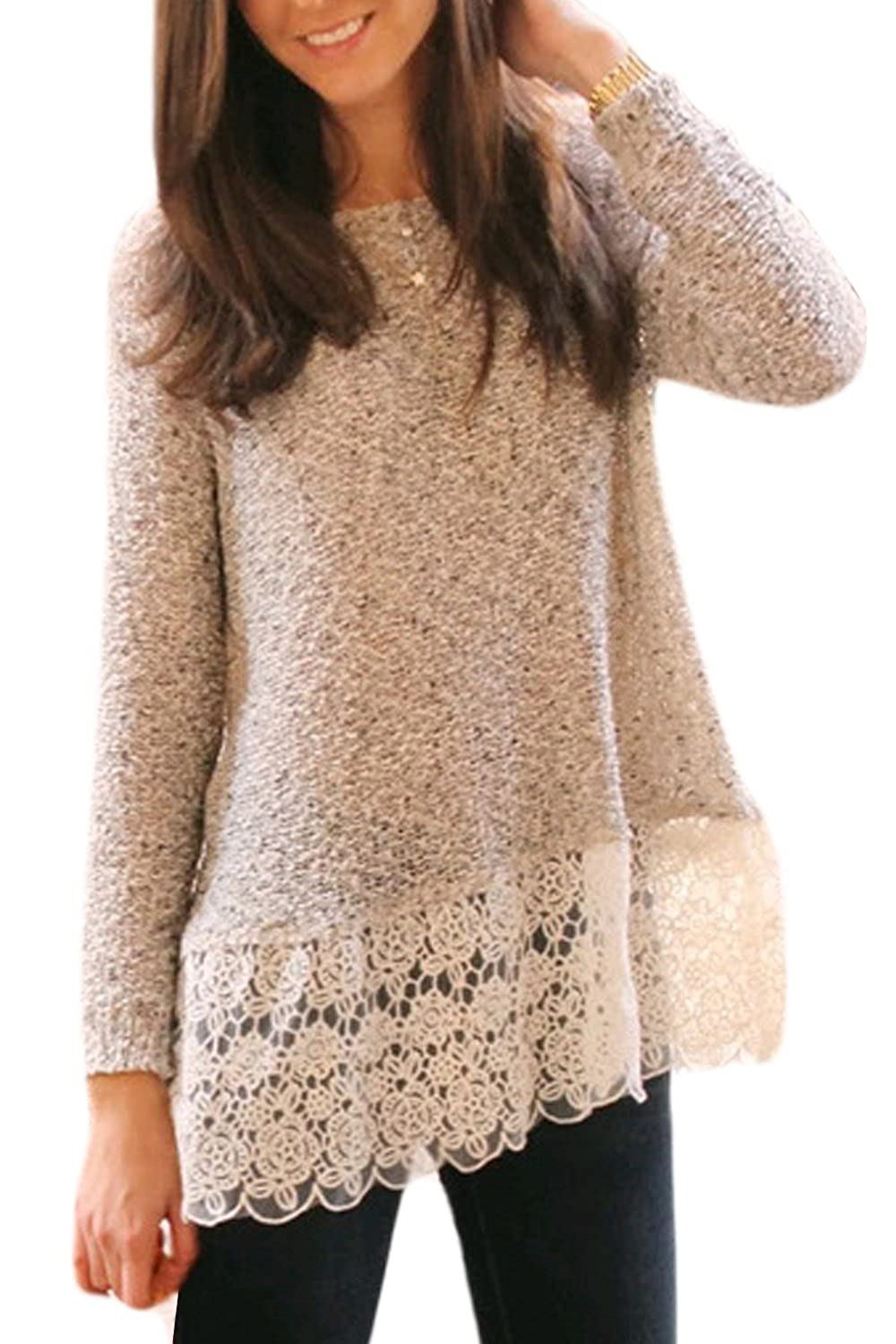 Women Autumn Long Sleeve Lace Patchwork T Shirt Tunic Top Tee CANZ629