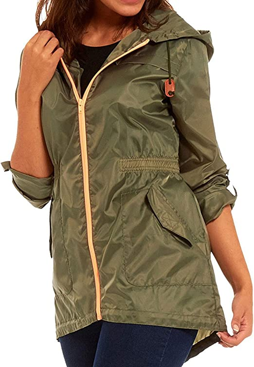 Womens Black White Rain Mac Fishtail RainCoat Festival Jacket Kagool Waterproof